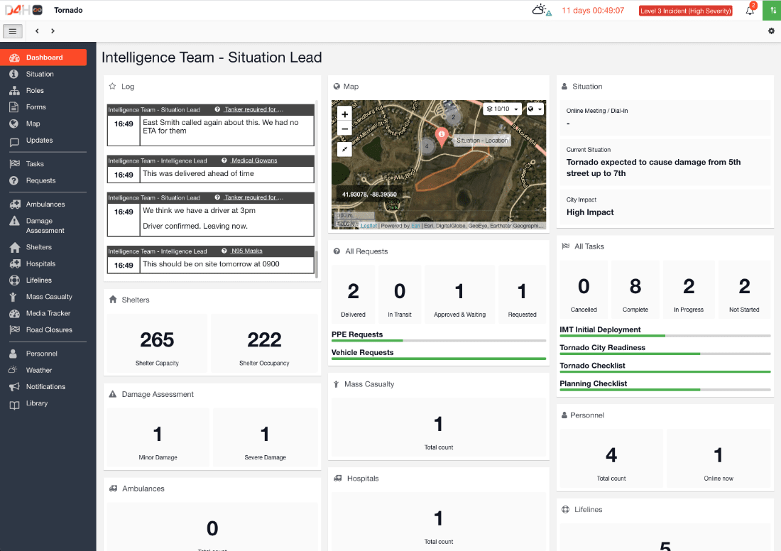 D4H incident management software dashboard interface