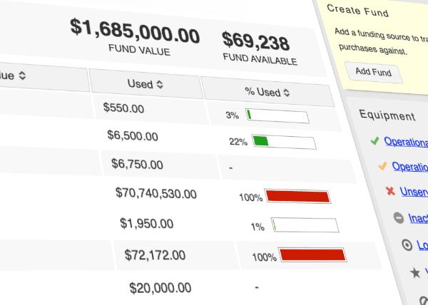 track equipment funding sources screenshot