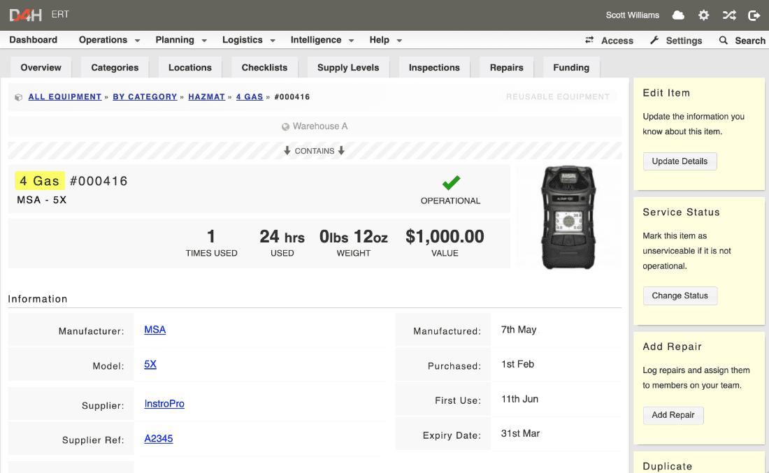 A gas meter item of equipment in D4H equipment management in the web browser.