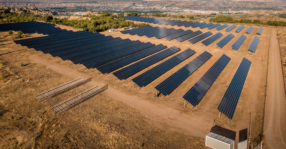 Solar thermal power station of Guadix, Spain. The Andasol solar power station is Europe's first commercial parabolic trough solar thermal power plant, located