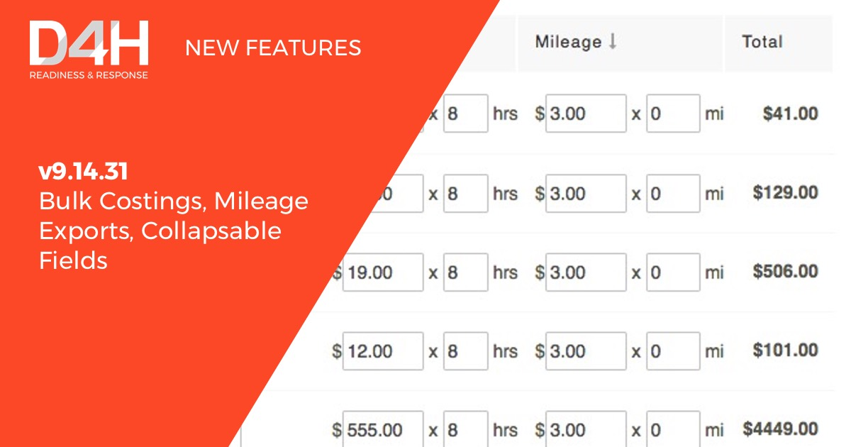 New Features: Bulk Costings, Mileage Exports, Collapsable Fields